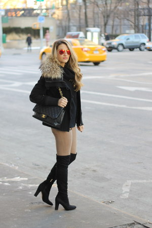 andrew marc coat - Ivanka Trump boots - Chanel bag - Ray Ban sunglasses