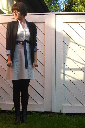 white H&amp;M dress - black blazer - blue accessories - black leggings - black shoes