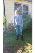black sears boots - navy Target jeans - periwinkle Vintage Laura Ashley blazer