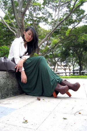 dark brown lita boots Jeffrey Campbell boots - bag - dark green maxi skirt skirt