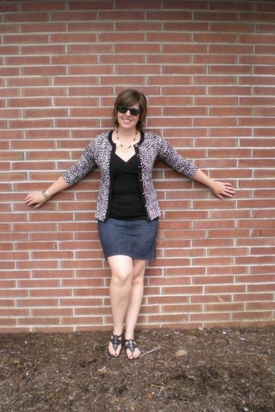 black Alfani cardigan - black INC shirt - blue Loft skirt - black Nine West shoe