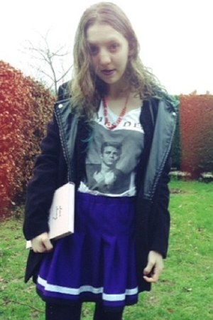 deep purple colourful WTF skirt - black coat - white H&M t-shirt