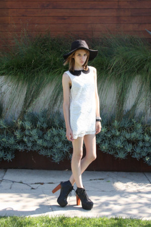 black litas Jeffrey Campbell shoes - LF dress - Urban Outfitters hat