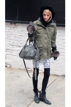 black Steven by Steve Madden boots - white free people dress - army green H&M ja