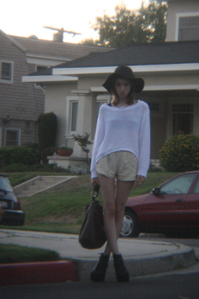 cream lace LF shorts - black Urban Outfitters hat - dark brown leather Prada bag