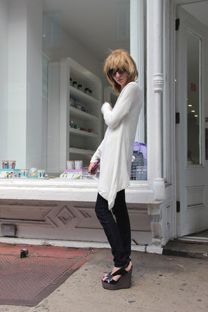 Jeffrey Campbell wedges - J Brand jeans - white knit Urban Outfitters top