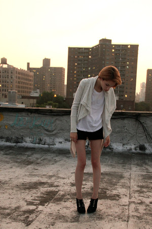 knit LF shorts - H&M t-shirt - Juicy Couture cardigan - Opening Ceremony pumps