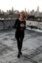 black Miss Hoe leggings - black acne dress - leather American Apparel bag
