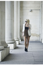 leather H&M Trend shorts - suede ASH boots - animal print Dolce and Gabbana top