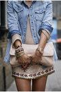 Peach-zara-jumper-blue-river-island-shirt-nude-miu-miu-bag-nude-zara-skirt
