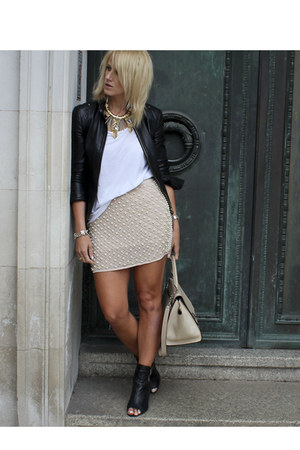 black leather Gucci jacket - neutral Zara skirt - white vince t-shirt