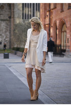 ivory Zara dress - ivory Topshop blazer - cream Zara belt