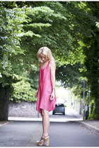bubble gum pink acne dress - light brown Miu Miu heels