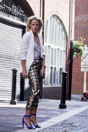 blue suede Celine shoes - ivory Topshop jacket - gold Marni pants