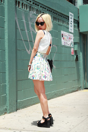 ivory skater vintage skirt - army green bucket vintage bag