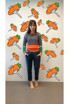 orange sweater - neutral sandals random brand shoes - navy pants