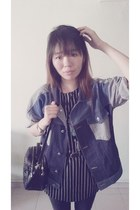 striped jacket from Korea jacket - studded bag random from Hong Kong bag