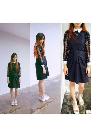 navy DIY drelim dress - white peekaboo shirt DIY drelim shirt
