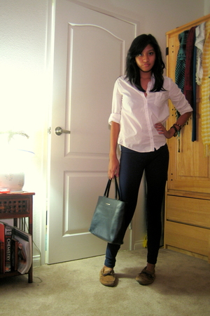 white shirt - blue aa leggings - brown Rite Aid shoes - black Textier purse