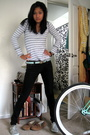 White-volcom-shirt-black-pants-green-thrifted-belt-blue-sperry-topsiders-s