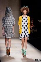 aquamarine socks - white polka dot dress - yellow cardigan - orange glasses
