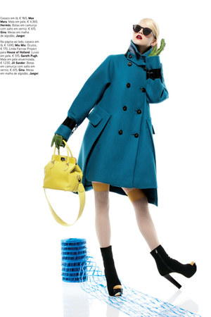 blue coat - yellow purse - black heels