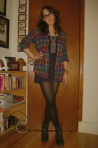 vintage shirt - American Apparel dress - seychelles boots