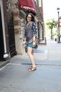 Blue-sfera-dress-brown-shoes-silver-vintage-necklace