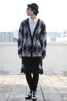black vest - white shirt - black cardigan