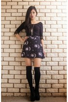 black sun moon  stars Motel Rocks skirt - black crochet Tobi top