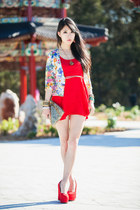red markets dress - off white floral Stephieshop jacket