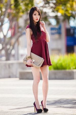 ruby red lace Rosy Ruby dress - tan clutch gmarket bag - purple Novo heels