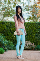 peach fan clutch Forever New bag - light blue mint Miss Selfridge jeans