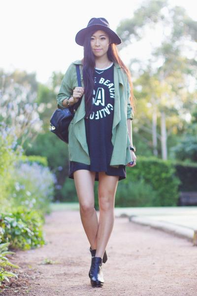 black tunic Cotton On T-Bar dress - lime green lookbookstore jacket