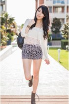 ivory crochet Tobicom top - black boots Nasty Gal shoes