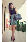 Black-gold-cap-portmans-shoes-turquoise-blue-blake-co-dress