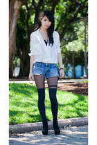 white gmarket shirt - blue denim Lee shorts - black asos stockings