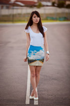 sky blue sky printed coiius skirt - white flutter sleeve bardot top
