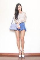 blue flutter Steal her look shorts - periwinkle satchel asos bag