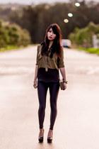 Sheinside blouse - Missguided leggings - clutch Choies bag