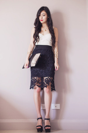 black lace midi AX Paris skirt