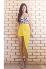 Yellow-asymmetrical-showpo-skirt-black-daisy-bustier-lookbookstore-top