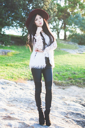 cream wish vest - black bardot jeans - white crochet lookbookstore top