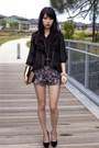 Gray-lace-forever-21-shorts-black-sheer-gmarket-blouse