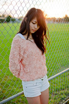 light pink rose American Apparel-inspired jumper - white denim supre shorts