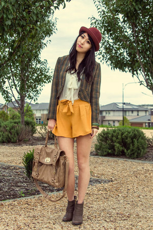 maroon bowler cotton on hat - dark khaki zip Nine West shoes