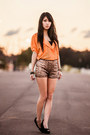 Sequin-mika-and-gala-shorts-orange-chicwish-blouse