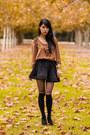 Black-flared-pleated-taobaocom-skirt-black-heart-printed-forever-new-stockings