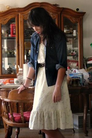 cream floral thrifted dress - dark brown hook thrifted belt - navy denim Thrift