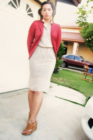 cream thrifted dress - ruby red pinstripe Barneys New York blazer - burnt orange